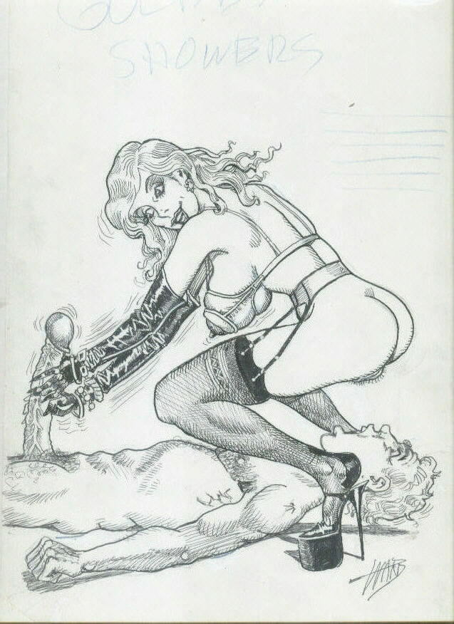 Bill Ward XXX Cartoon Illustration. Watersports .